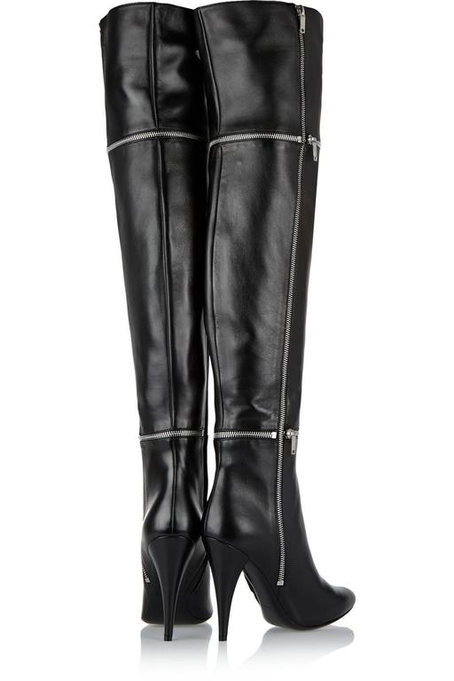 Saint Laurent NEW Black Leather Zipper Over the Knee Heels Boots in Box In New Never_worn Condition For Sale In Chicago, IL