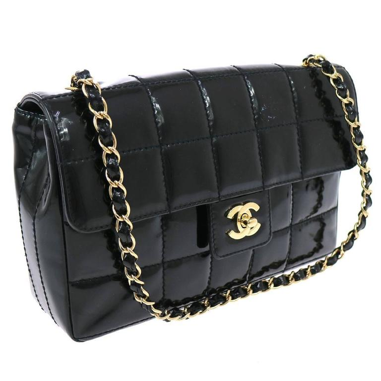 1f0452d2fc19 Chanel Black Patent Leather Quilted Chocolate Bar Gold Evening Shoulder Bag  For Sale