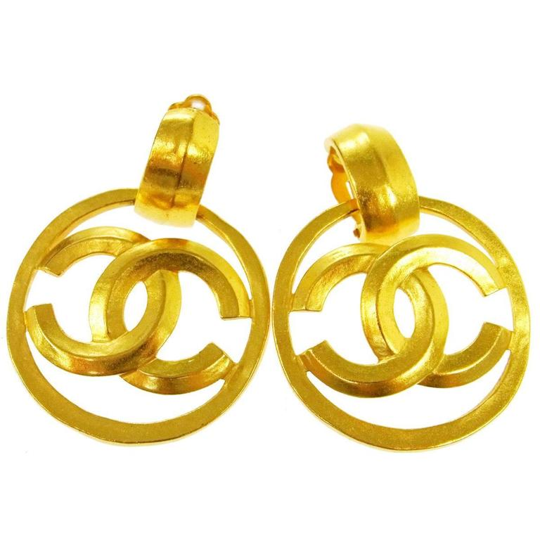 Chanel Vintage Gold Charm Round Circle Hoop Doorknocker Large Dangle Earrings 1