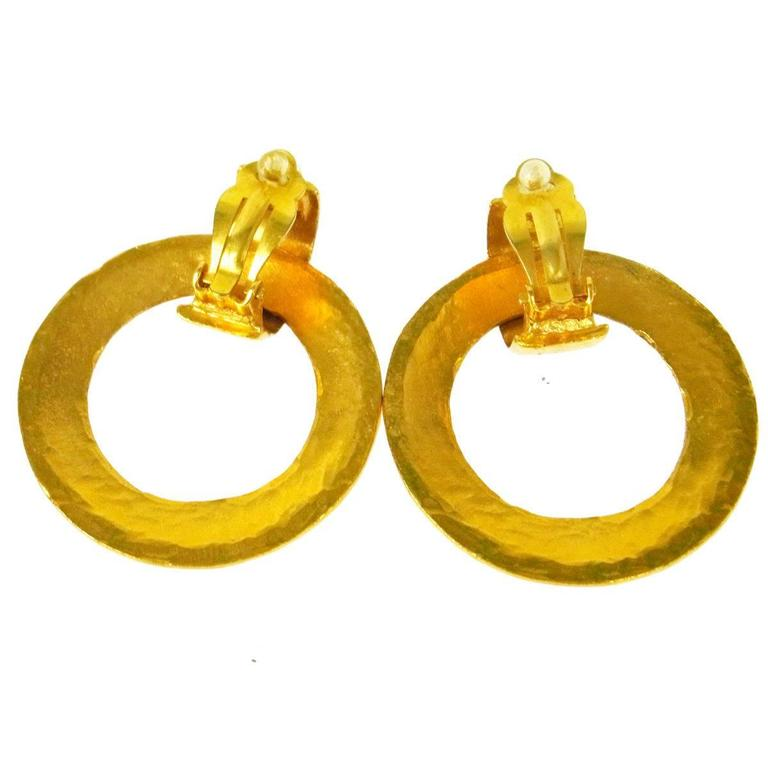 Chanel Vintage Gold 'Chanel Paris' Round Two in One Dangle Doorknocker Earrings In Excellent Condition For Sale In Chicago, IL