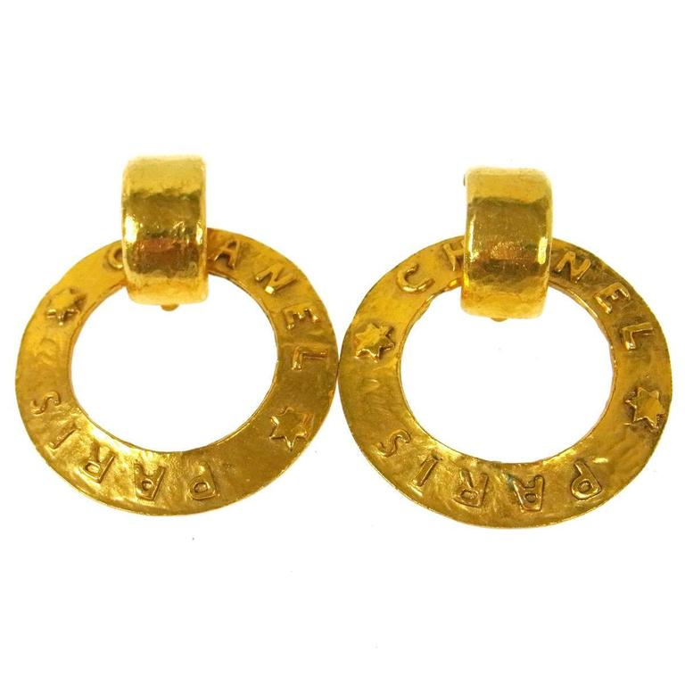 Chanel Vintage Gold 'Chanel Paris' Round Two in One Dangle Doorknocker Earrings For Sale