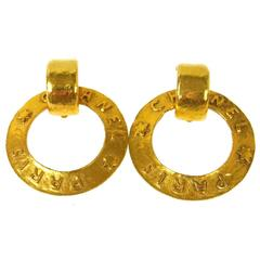 Chanel Vintage Gold 'Chanel Paris' Round Two in One Dangle Doorknocker Earrings