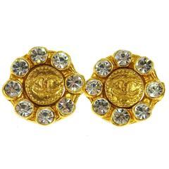 Chanel Vintage Gold Camellia Jewel Starburst Round Stud Earrings