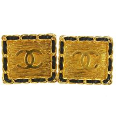 Chanel Vintage Rare Gold Chain Link Black Leather Square Stud Earrings