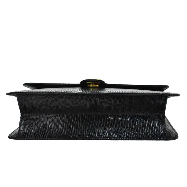 Chanel RARE Black Lizard Gold Evening Flap Shoulder Bag For Sale 1