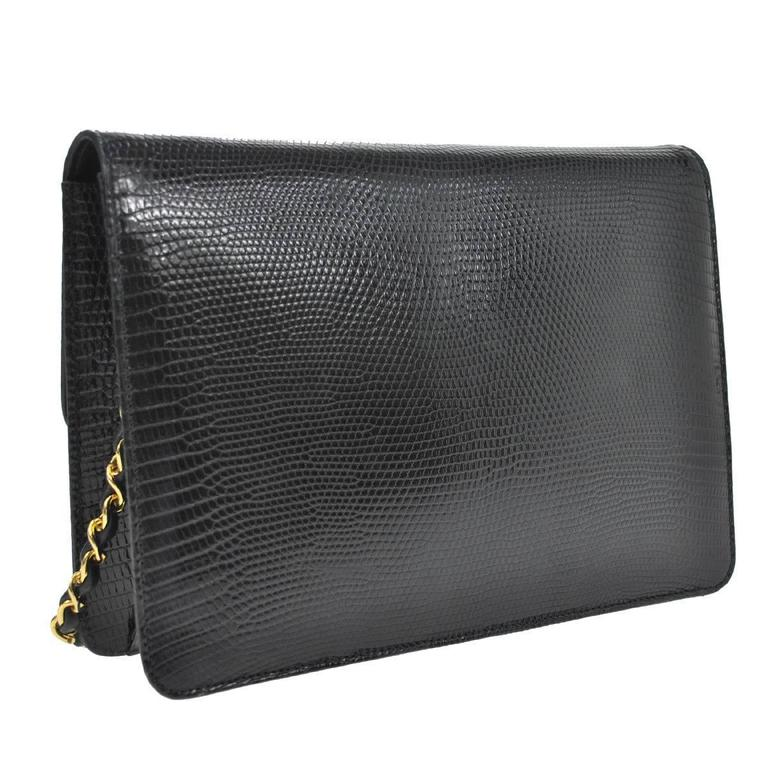 Women's Chanel RARE Black Lizard Gold Evening Flap Shoulder Bag For Sale