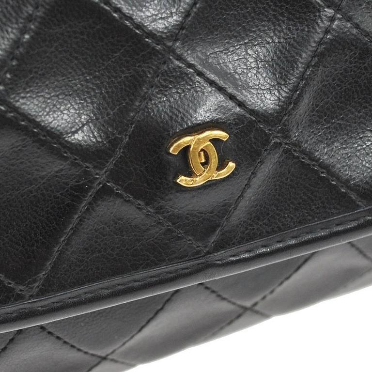 Chanel Vintage Black Leather Gold Chain Small Evening Party Flap Shoulder Bag 2