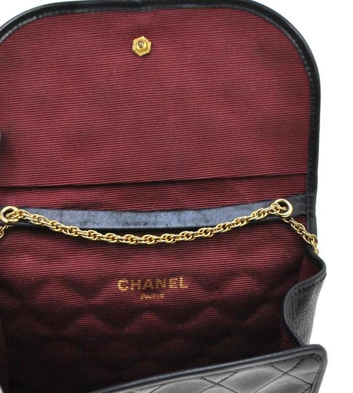 Chanel Vintage Black Leather Gold Chain Small Evening Party Flap Shoulder Bag 6