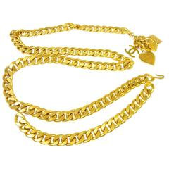 Chanel Rare Vintage Gold Double Chain Link Charm Waist Belt / Necklace in Box
