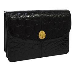 Celine Shiny Black Croc Leather Gold Emblem Evening Top Handle Clutch Bag