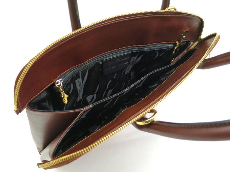 Salvatore Ferragamo Dark Cognac Leather Gold Top Handle Crossbody Shoulder Bag 6