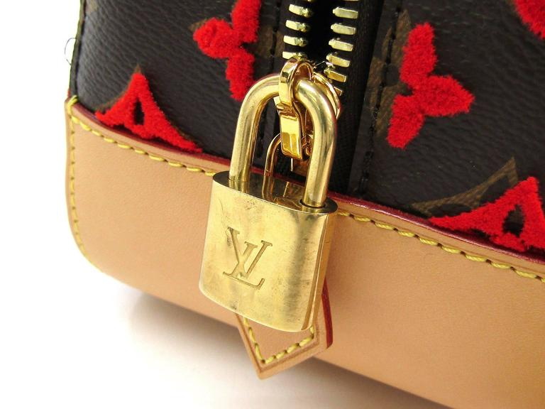 Louis Vuitton Rare Limited Edition Monogram Brown Red Top Handle Satchel Bag 3