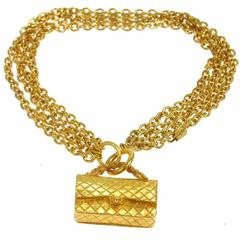 Chanel Vintage Gold Four Multi Strand Quilted Flap Choker Necklace