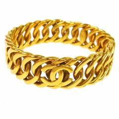 Chanel Vintage Gold Interlocking Chain Link Charm Cuff Bracelet in Box