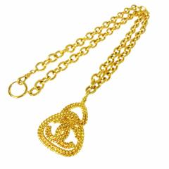 Chanel Vintage Gold Textured Brass Single Strand Medallion Charm Necklace