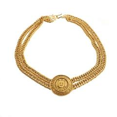 Chanel Vintage Gold Rue Cambon Coin Medallion Charm Chain Choker Necklace in Box