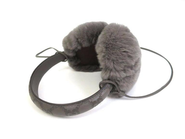 """CURATOR'S NOTES  Gucci NEW Monogram Logo Fur Men's Women's Unisex Ear Muffs in Box available at Newfound Luxury  Fur (Rabbit) Leather trim Made in Italy Headband length 30"""" Measures 6"""" W x 8"""" H x 5"""" D Includes original Gucci dust"""