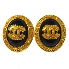 Chanel Vintage Gold Black Ornate Baroque Evening Round Button Stud Earrings