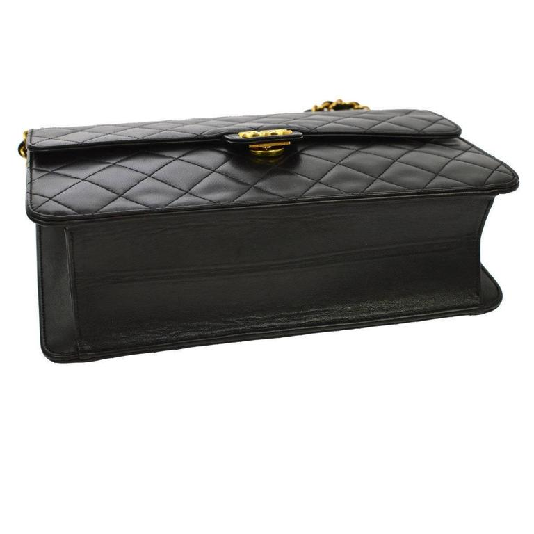 Chanel Vintage Black Lambskin 2 in 1 Envelope Clutch Flap Shoulder Bag in Box 5