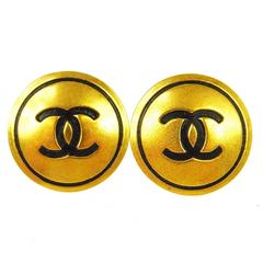 Chanel Vintage Gold Black Enamel Large Charm Round Stud Earrings