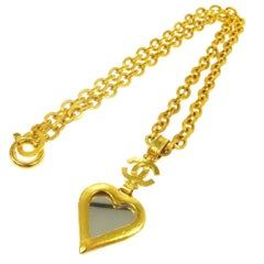Chanel Rare Vintage Gold Pendant Charm Long Link Necklace in Box