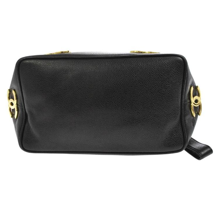 Chanel Black Caviar Leather Gold Charm Top Handle Sling Back Bag In Good Condition For Sale In Chicago, IL