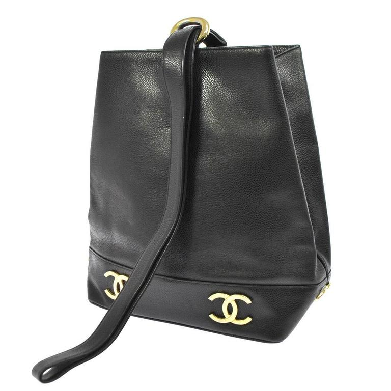 Chanel Black Caviar Leather Gold Charm Top Handle Sling Back Bag For Sale