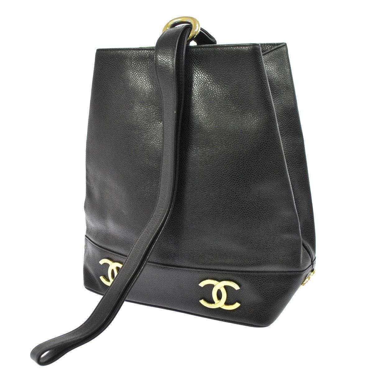 79a366ad2359 Chanel Black Caviar Leather Gold Charm Top Handle Sling Back Bag at 1stdibs