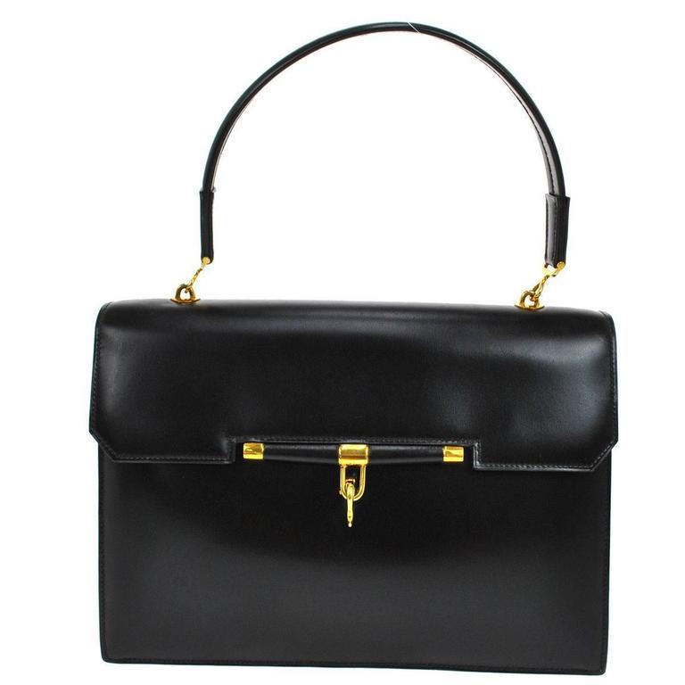 Hermes Rare Vintage Black Kelly Style Evening Top Handle