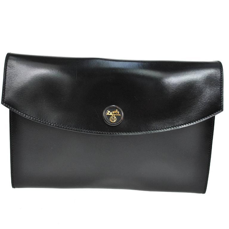 Hermes Vintage Black Leather Gold Logo Evening Envelope Flap Clutch Bag in Box 1