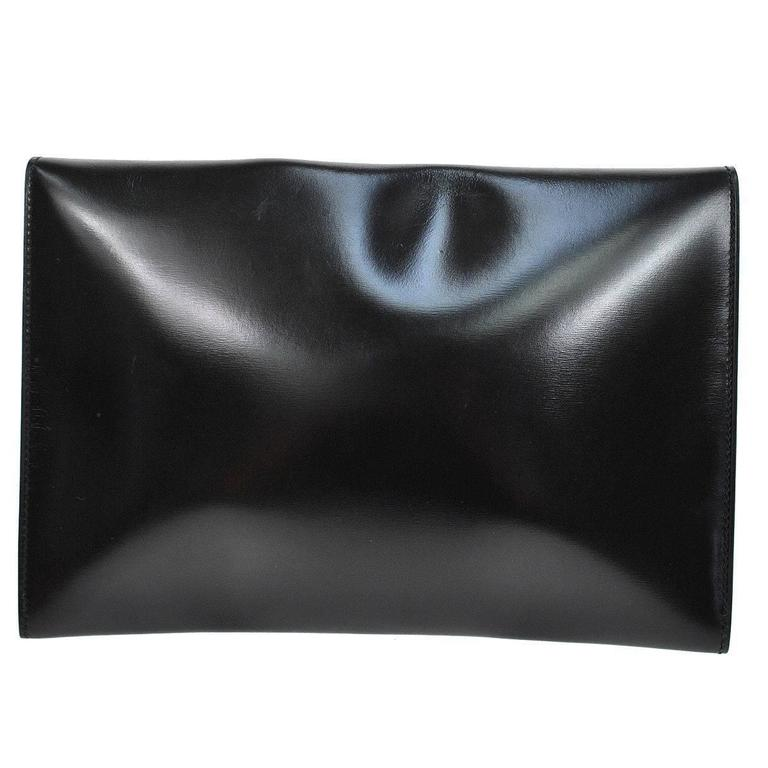 Hermes Vintage Black Leather Gold Logo Evening Envelope Flap Clutch Bag in Box 3