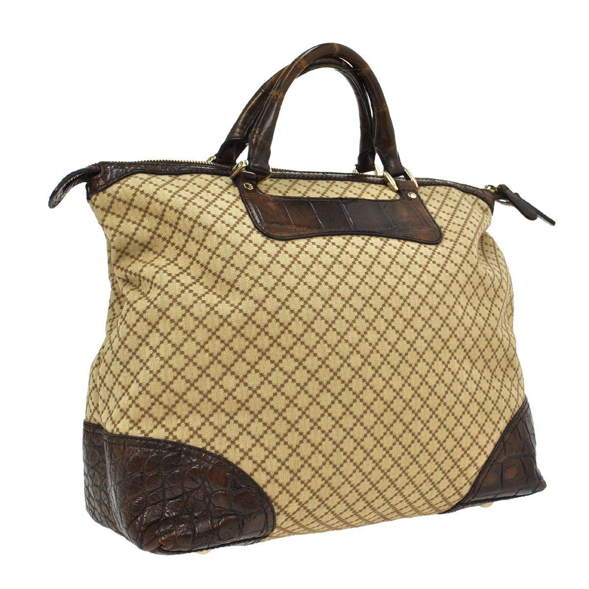 06dfb9d2133613 Gucci Monogram Canvas Men's Weekender Crocodile Carryall Satchel Tote Bag  at 1stdibs