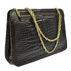 Chanel Rare Vintage Dark Brown Croc Leather Gold Evening Kisslock Top Handle Bag