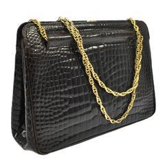 Chanel Rare Vintage Dark Brown Croc Leather Gold Evening Kisslock Top Handle Bag