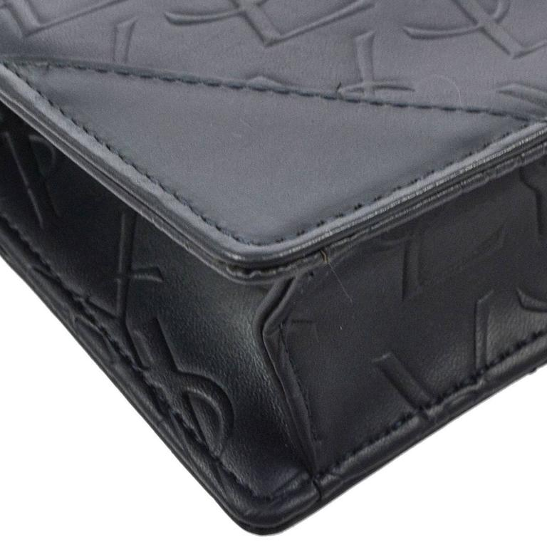 87ca91f6d5 Black Yves Saint Laurent YSL Monogram Leather Long Envelope Evening Flap Clutch  Bag For Sale