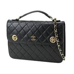 Chanel Vintage Black Lambskin Dual Turnlock Top Handle Satchel Shoulder Flap Bag