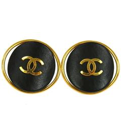 Chanel Vintage Rare Charm Leather Round Button Stud Cage Evening Earrings in Box