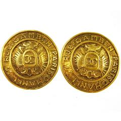 Chanel Vintage Gold Rue Cambon Coin Medallion Charm Stud Earrings