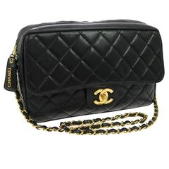 Chanel Vintage Medium Camera Lambskin Leather Gold Charm Flap Bag