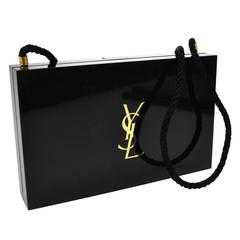 Yves Saint Laurent YSL Black Gold Compact Cosmetic Case Evening Shoulder Clutch