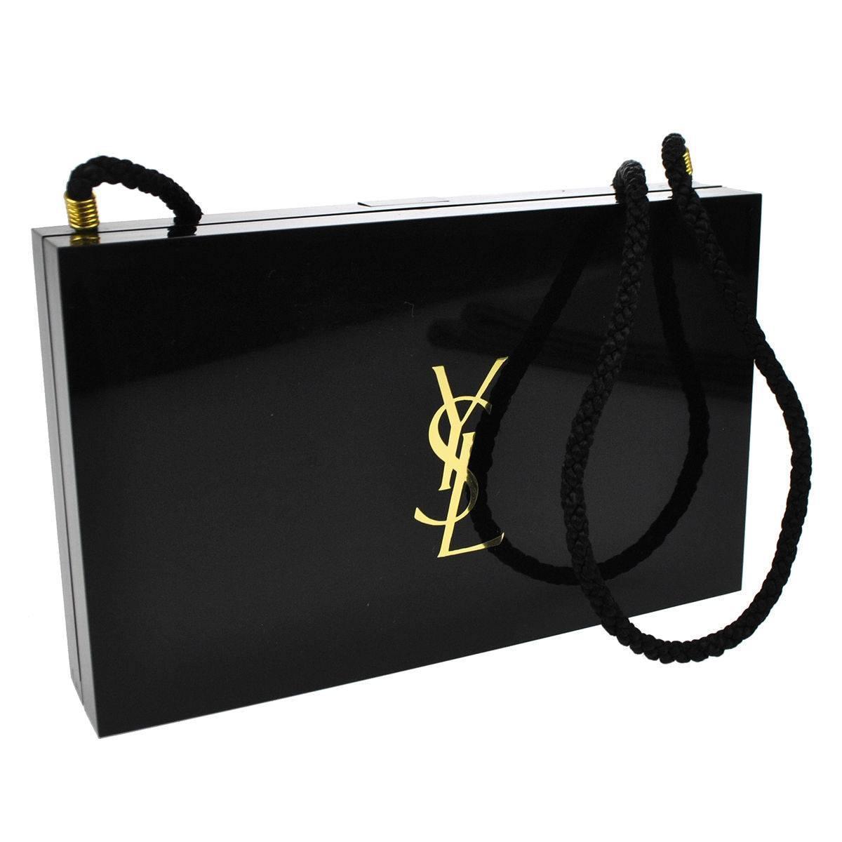 38ce8ccecc6 Yves Saint Laurent YSL Black Gold Compact Cosmetic Case Evening Shoulder  Clutch
