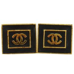 Chanel Rare Vintage Black Leather Gold Charm Large Evening Stud Square Earrings