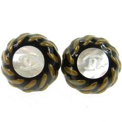 Chanel Vintage Black Glass Mother of Pearl Button Charm Evening Stud Earring