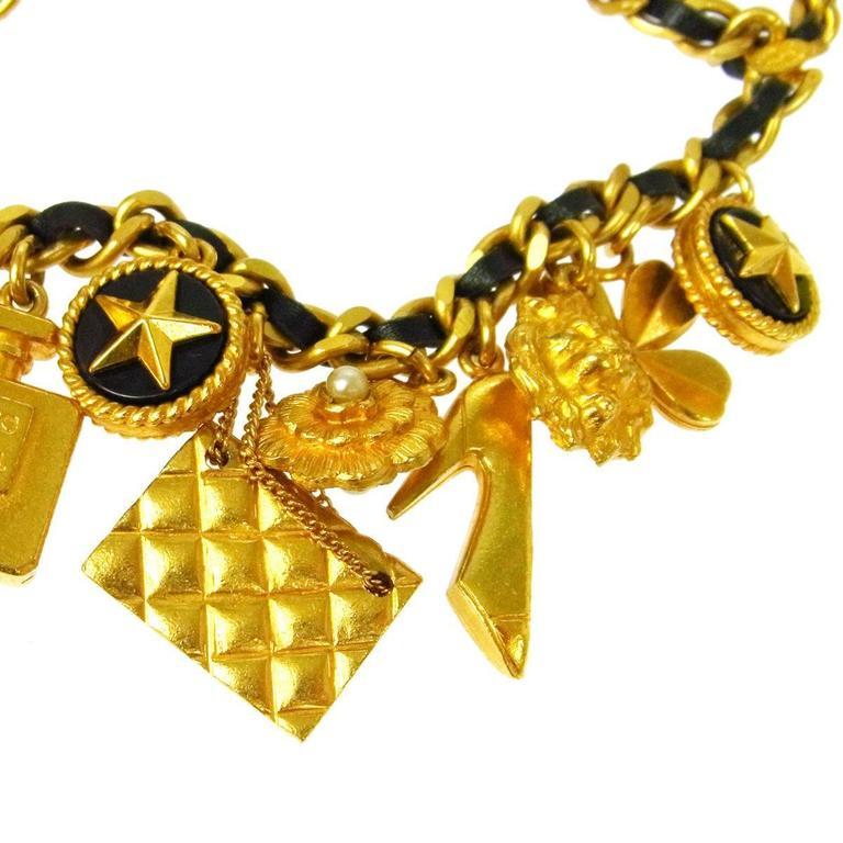 Chanel Rare Vintage Gold Multi Charms No 5 Flap Bag Lion Leather Waist Belt 2