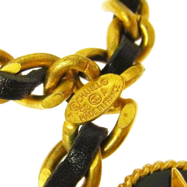 Chanel Rare Vintage Gold Multi Charms No 5 Flap Bag Lion Leather Waist Belt 3