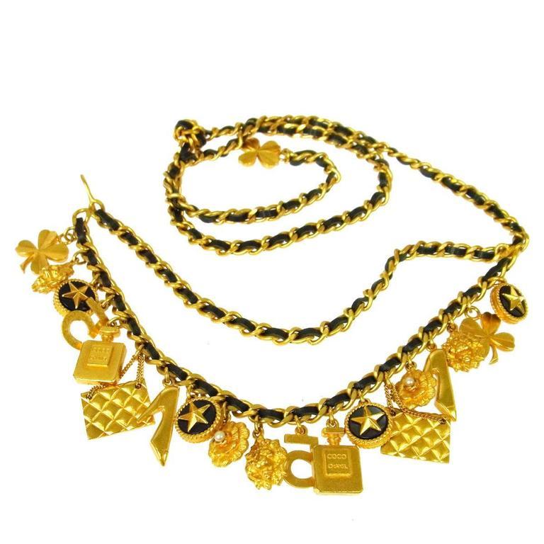 Chanel Rare Vintage Gold Multi Charms No 5 Flap Bag Lion Leather Waist Belt