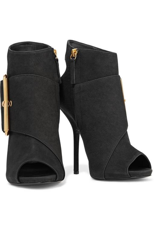Giuseppe Zanotti NEW & SOLD OUT Black Leather Gold Buckle Ankle Booties in Box 2