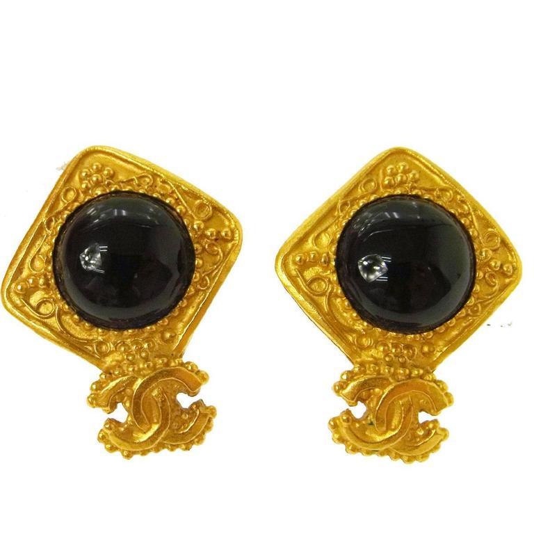 Chanel Vintage Gold Charm Black Glass Evening Dangle Drop Earrings 1