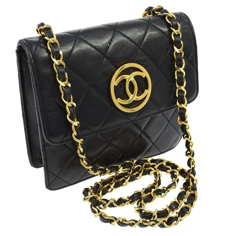 Chanel Vintage Black Lambskin Leather Gold Charm Small Crossbody Flap Bag 1