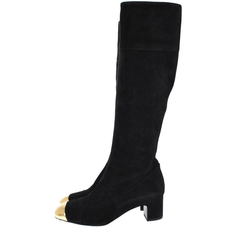 Hermes Black Suede Gold Metal CapToe Block Heels Shoes Knee Boots ...